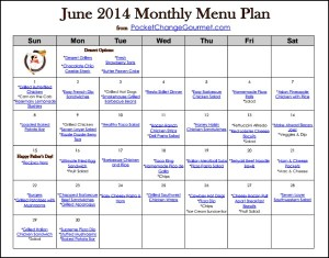 June Printable Monthly Menu | Available on PocketChangeGourmet.com