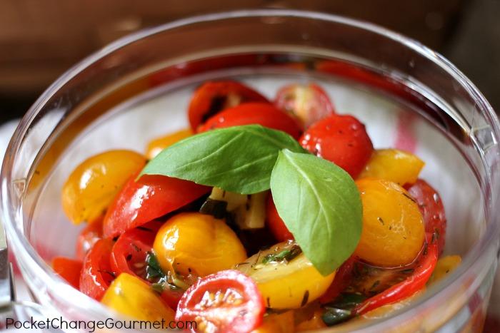 Marinated Tomato Salad   Recipe on PocketChangeGourmet.com