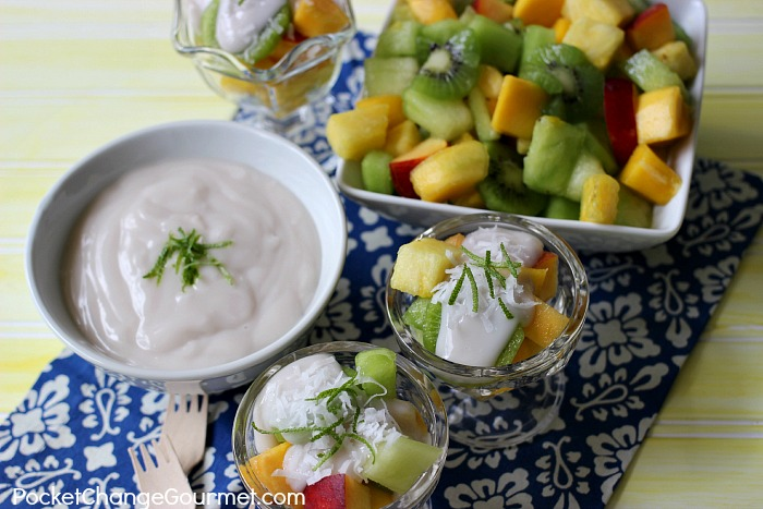 Tropical Fruit Salad with Dairy Free Topping | Recipe on PocketChangeGourmet.com