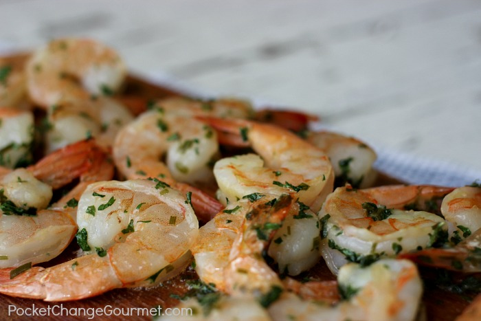 Grilled Shrimp with Butter and Herbs | Recipe on PocketChangeGourmet.com - grilled shrimp recipe