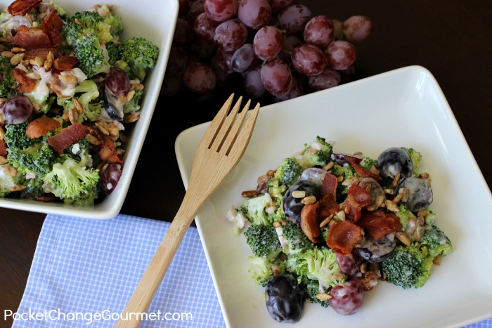 Broccoli Grape Salad Recipe | Perfect for potlucks, cook-outs, easy enough for a weeknight side dish | Recipe on PocketChangeGourmet.com