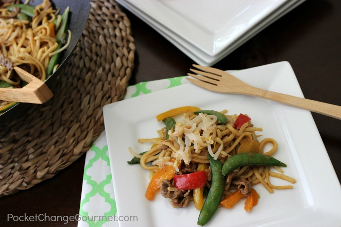 Stir-Fry Beef Lo Mein | Quick and Easy Weeknight Meal | Recipe on PocketChangeGourmet.com