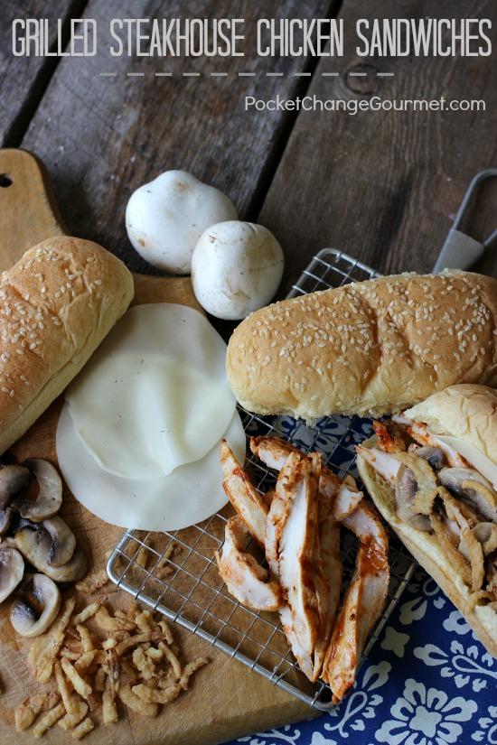 Grilled Steakhouse Chicken Sandwiches | Recipe on PocketChangeGourmet.com