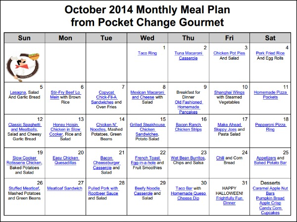 October- Monthly Menu Plan | Available on PocketChangeGourmet.com