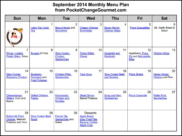 September 2014 Monthly Menu | Available on PocketChangeGourmet.com
