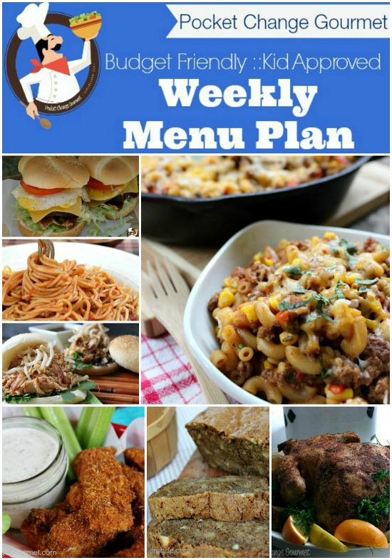 Budget Friendly Weekly Menu Plan Available on PocketChangeGourmet.com