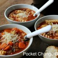 Crock Pot Vegetable Soup ready to eat with some crusty bread | Pocket Change Gourmet