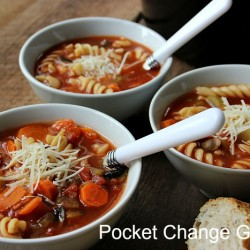 Crock Pot Vegetable Soup ready to eat with some crusty bread   Pocket Change Gourmet