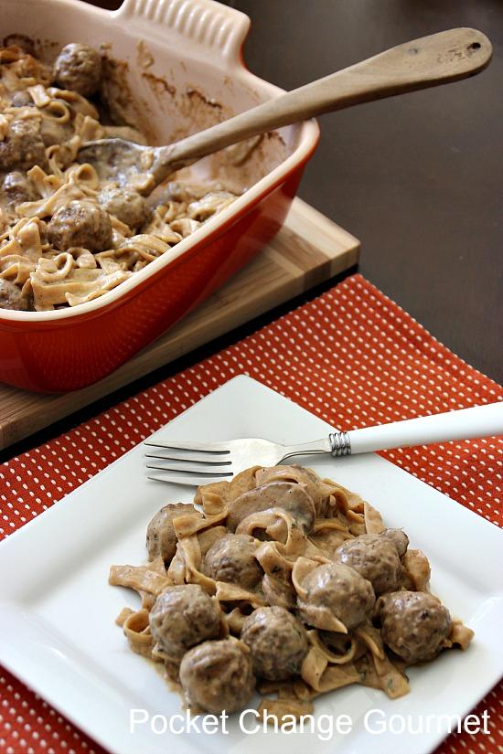Swedish Meatball Casserole served | Pocket Change Gourmet