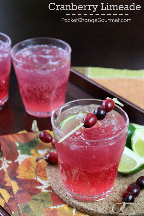 Perfect for your holiday parties, this Cranberry Limeade has only 3 ingredients. And can be served with or without alcohol. Pin to your Holiday Board!