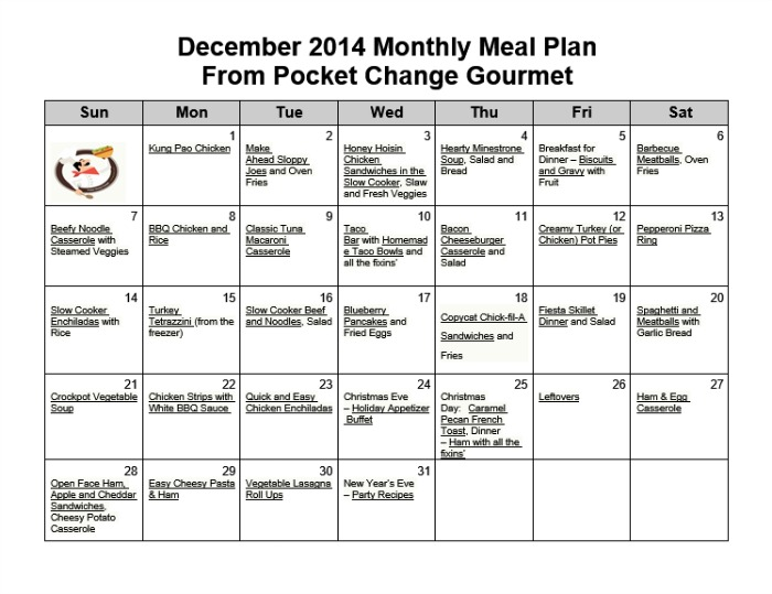 December Monthly Meal Plan Recipe  Pocket Change Gourmet