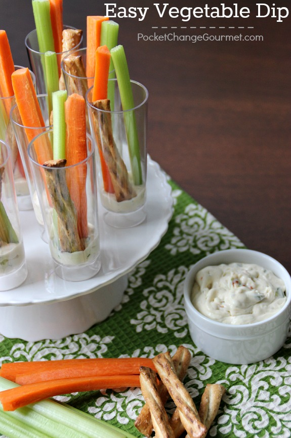 Whip up this Easy Vegetable Dip with just 4 ingredients! Perfect for vegetables, pretzels, bread and more! Pin to your Recipe Board!