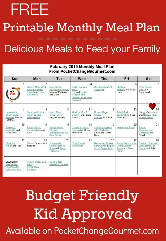 Delicious meals to feed your family in the February Monthly Meal Plan! Budget friendly menu plan - Kid approved! Pin to your Recipe Board!