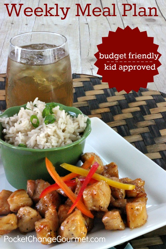 Save time in the kitchen with this Weekly Meal Plan! Budget friendly menu plan - Kid approved! Pin to your Recipe Board!