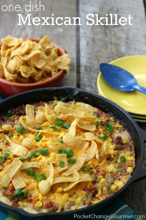 This One Dish Mexican Skillet is sure to become a family favorite! Quick, easy and full of flavor! Pin to your Recipe Board!