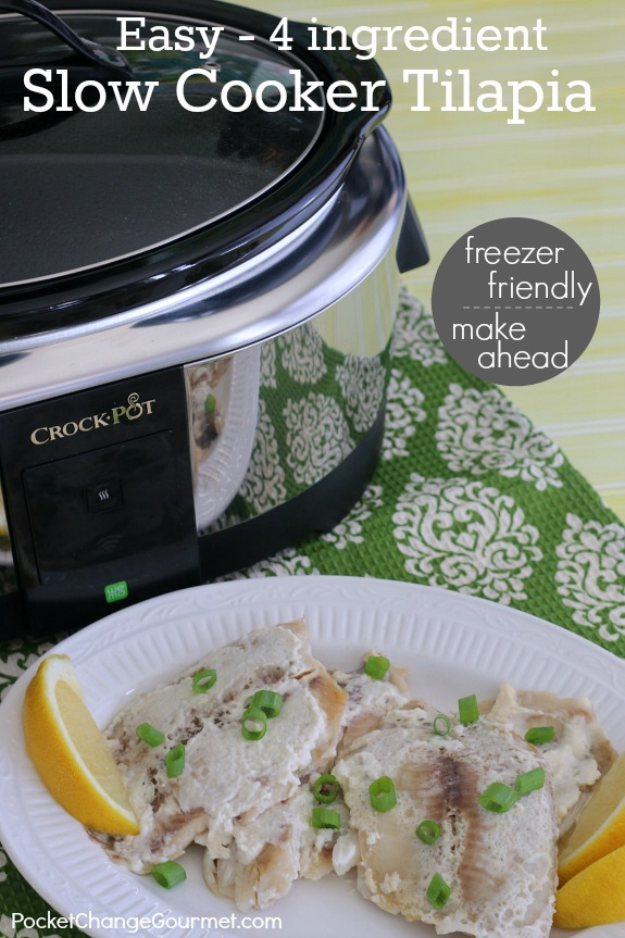 ONLY 4 ingredients and less than 5 minutes prep time for this amazing Slow Cooker Tilapia! Pin to your Recipe Board!