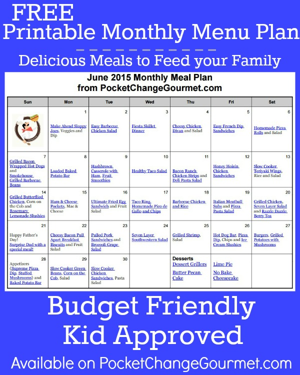 Delicious meals to feed your family in the June Monthly Meal Plan! Budget friendly menu plan - Kid approved! Pin to your Recipe Board!