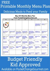 Delicious meals to feed your family in the May Monthly Menu Plan! Printable Menu Plan! Budget friendly meal plan - Kid approved! Pin to your Recipe Board!