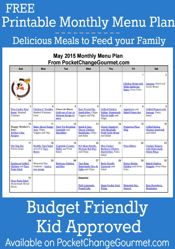 Printable May Monthly Menu Plan