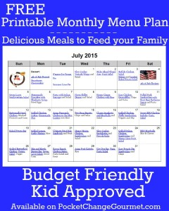 Delicious meals to feed your family in the July Monthly Meal Plan! Budget friendly menu plan - Kid approved! Pin to your Recipe Board!
