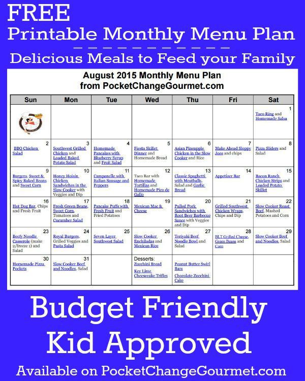 Delicious meals to feed your family in the August Monthly Meal Plan! Budget friendly menu plan - Kid approved! Pin to your Recipe Board!