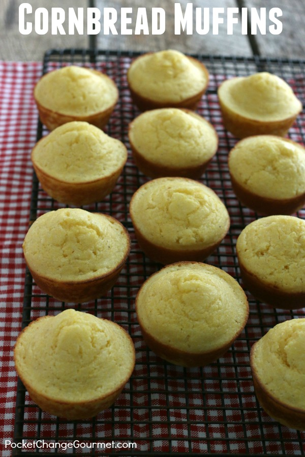 Cornbread Muffins - just about the BEST side that goes with everything! Slather on the butter and honey for a special treat! Click on the Photo for the Recipe!