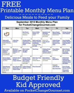 Delicious meals to feed your family in the September Monthly Meal Plan! Budget friendly menu plan - Kid approved! Pin to your Recipe Board!