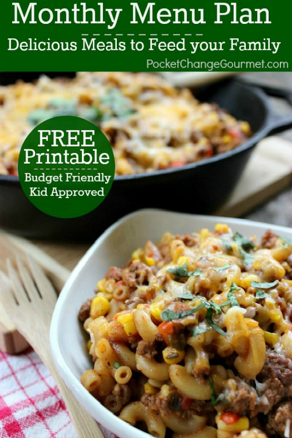 Delicious meals to feed your family in the November Monthly Meal Plan! Budget friendly menu plan - Kid approved! Pin to your Recipe Board!