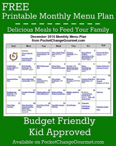 Delicious meals to feed your family in the Printable December Monthly Meal Plan! Budget friendly menu plan - Kid approved! Print out your FREE copy today!