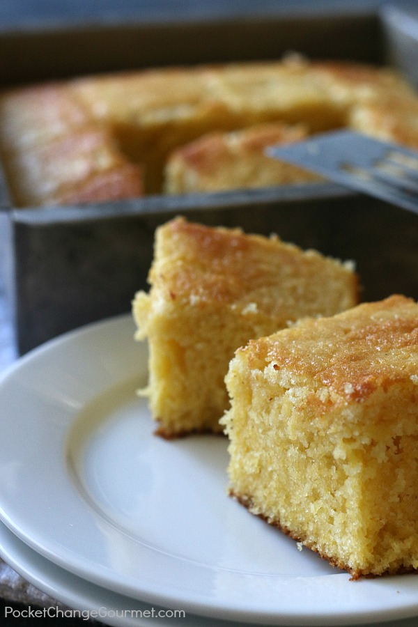 There is something special about a pan of warm cornbread dripping with melted butter! This Traditional Cornbread Recipe is super easy to make with simple ingredients! Put it together in minutes in 1 bowl!