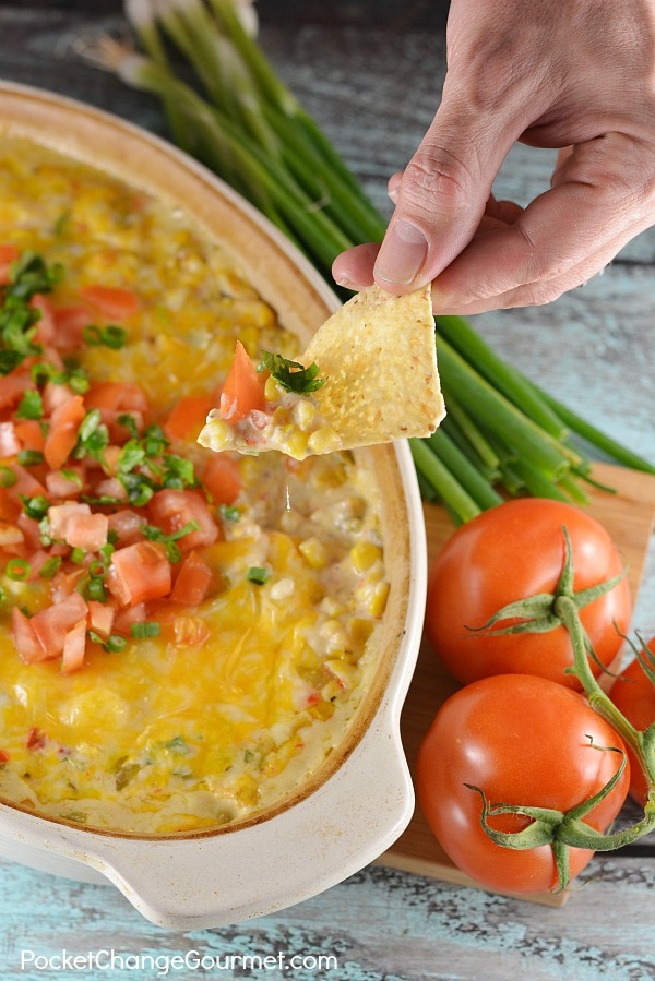 Your family and friends will RAVE over this Hot Corn Dip! It uses simple ingredients and goes together in minutes! Perfect for parties, movie night or football games!