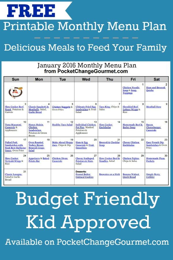 monthly menu plan january 2016 recipe pocket change gourmet