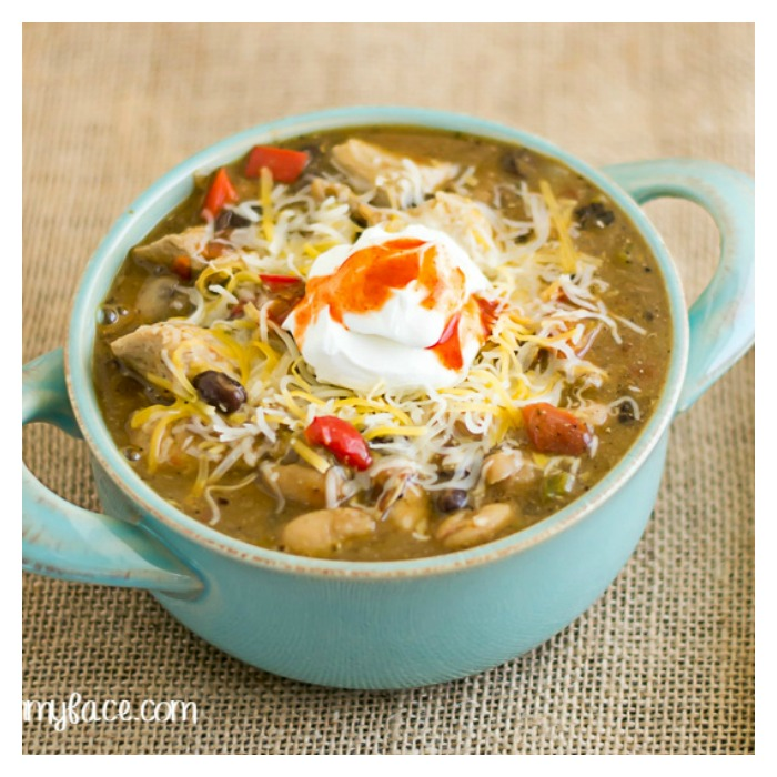 Crock Pot Chicken Chili Recipe from Flour on My Face.