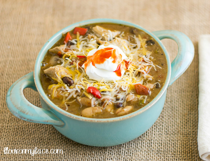 Crock Pot Chicken Chili Recipe from Flour on My Face