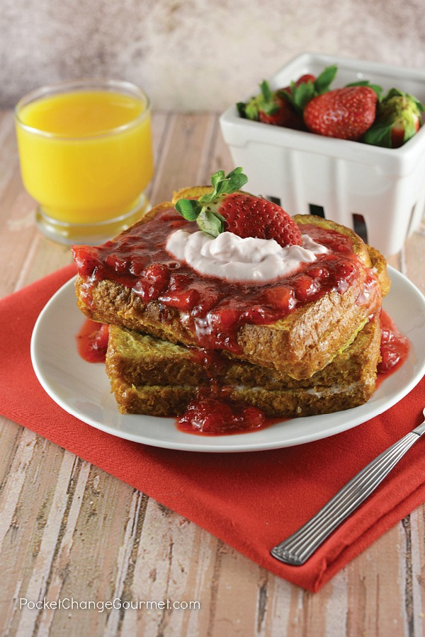 Whether you enjoy this French Toast filled with Strawberry for breakfast, lunch or dinner, it will have even your pickiest eaters will be coming back for seconds! Don't forget to top it with warm strawberry sauce and a little whip cream to make it an extra special Valentine's Day Breakfast.