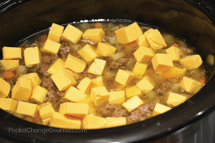Cheeseburger Soup in the Slow Cooker