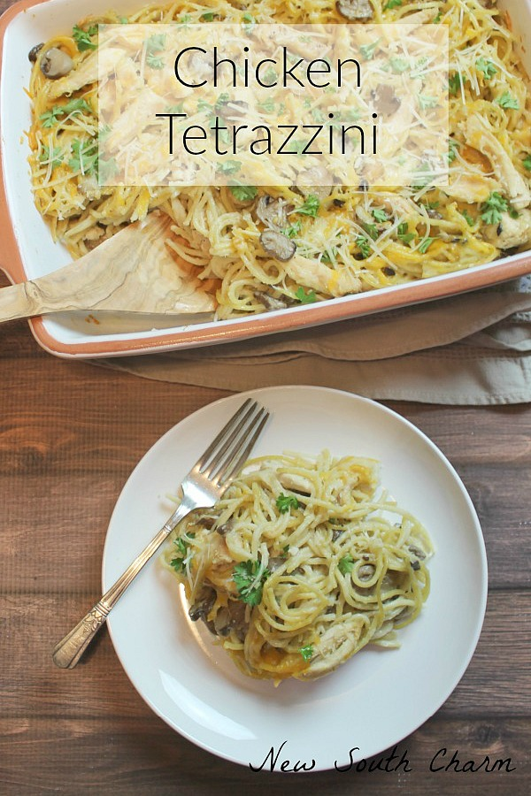 #2 Most Clicked Recipe from last week's Delicious Dishes Recipe party was Chicken Tetrazzini from New South Charm.