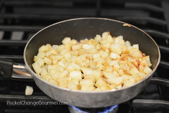 Cooking Potatoes and Onions for Corned Beef Hash