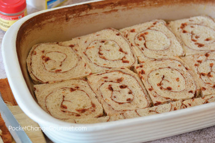 Layering the bread for make ahead french toast casserole