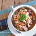 Use up your leftover ham with this delicious Ham and Bean Crockpot Soup! It's goes together in a snap and will have the whole family asking for seconds!