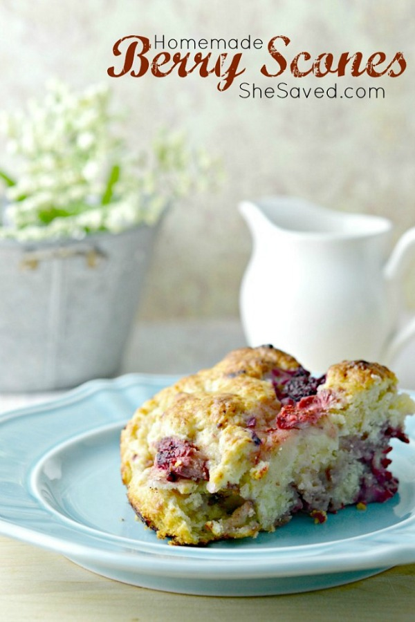 Homemade Berry Scones from She Saved