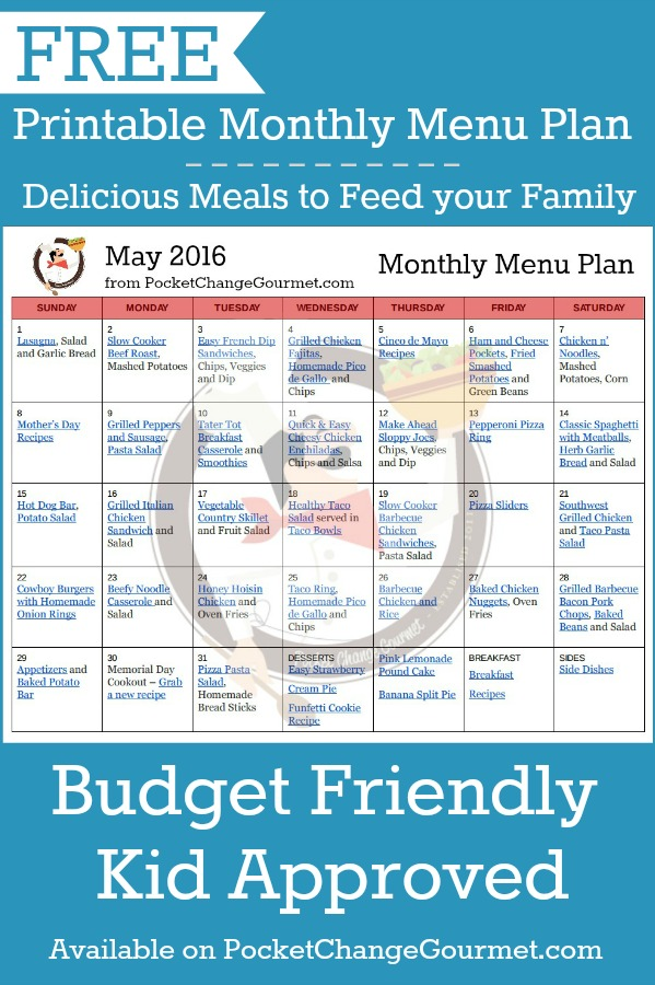 May Menu Plan: 2016 Recipe | Pocket Change Gourmet