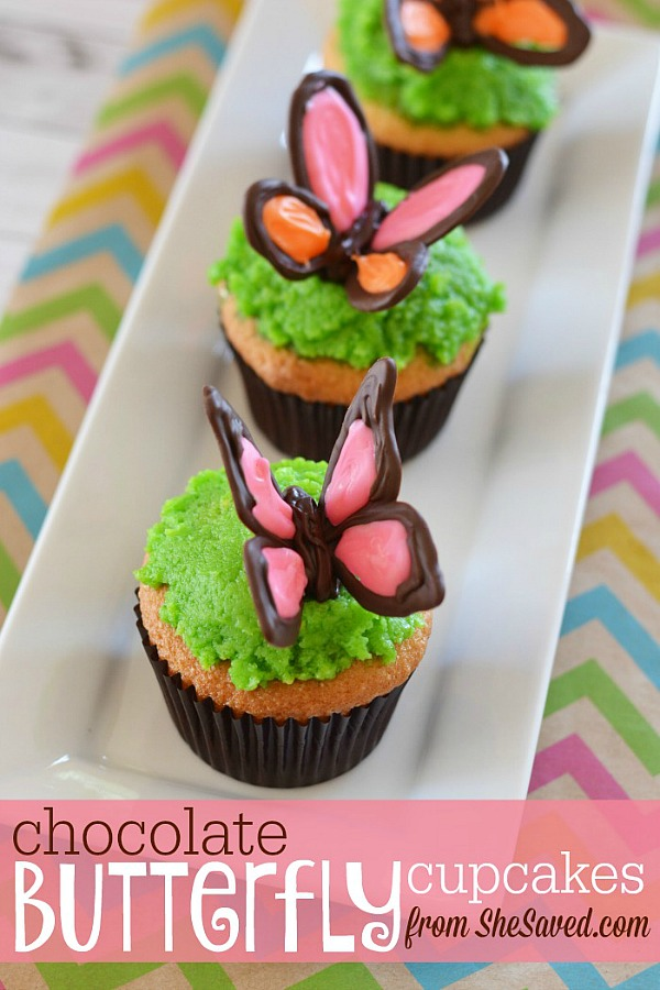 Chocolate Butterfly Cupcakes from She Saved
