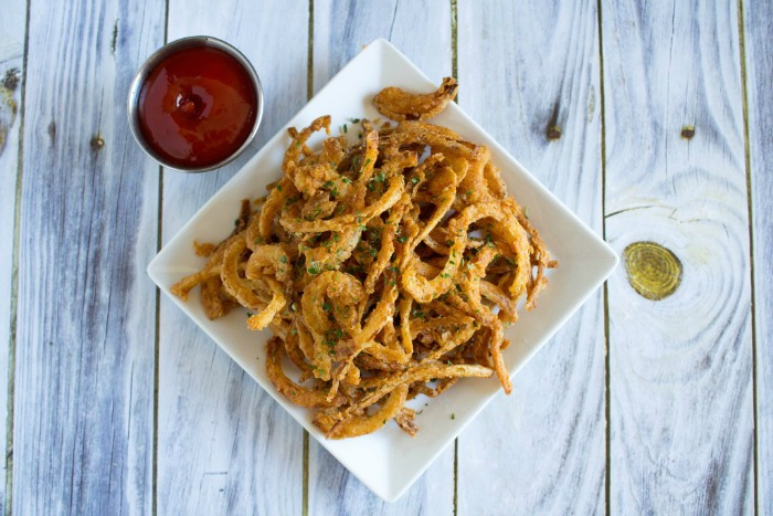 Crispy Fried Onion Strings from Thinking Outside the Sandbox