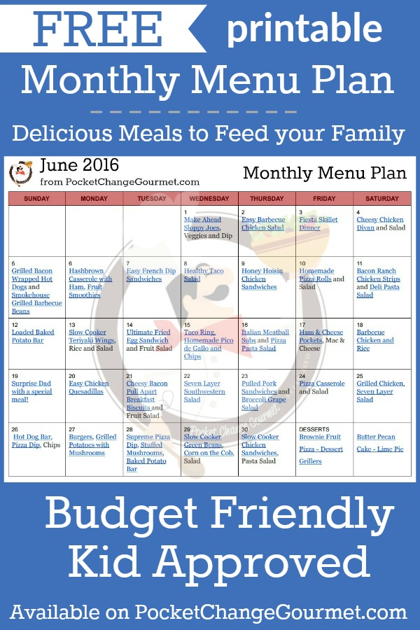 Delicious meals to feed your family in the Printable June Monthly Menu Plan! Budget friendly meal plan - Kid approved! Print out your FREE copy today!