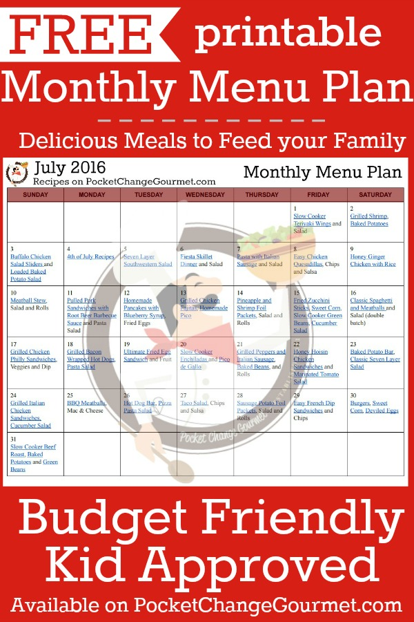 Delicious meals to feed your family in the Printable July Monthly Menu Plan! Budget friendly meal plan - Kid approved! Print out your FREE copy today!