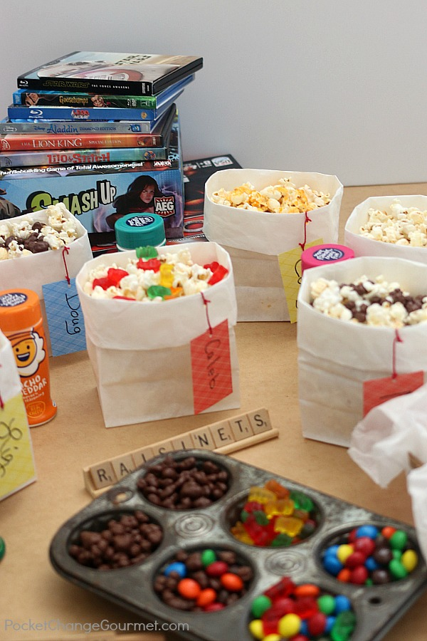 POPCORN BAR -- Kids of ALL ages will love this easy to serve Popcorn Bar! Grab the games - it's time for GAME NIGHT! Flavored salts and Candy in a variety of flavors!
