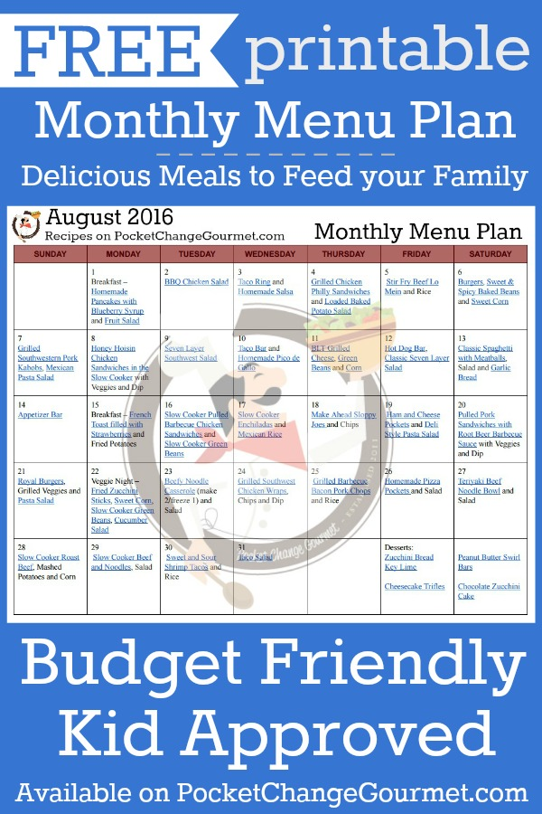 Delicious meals to feed your family in the Printable August Monthly Menu Plan! Budget friendly meal plan - Kid approved! Print out your FREE copy today!