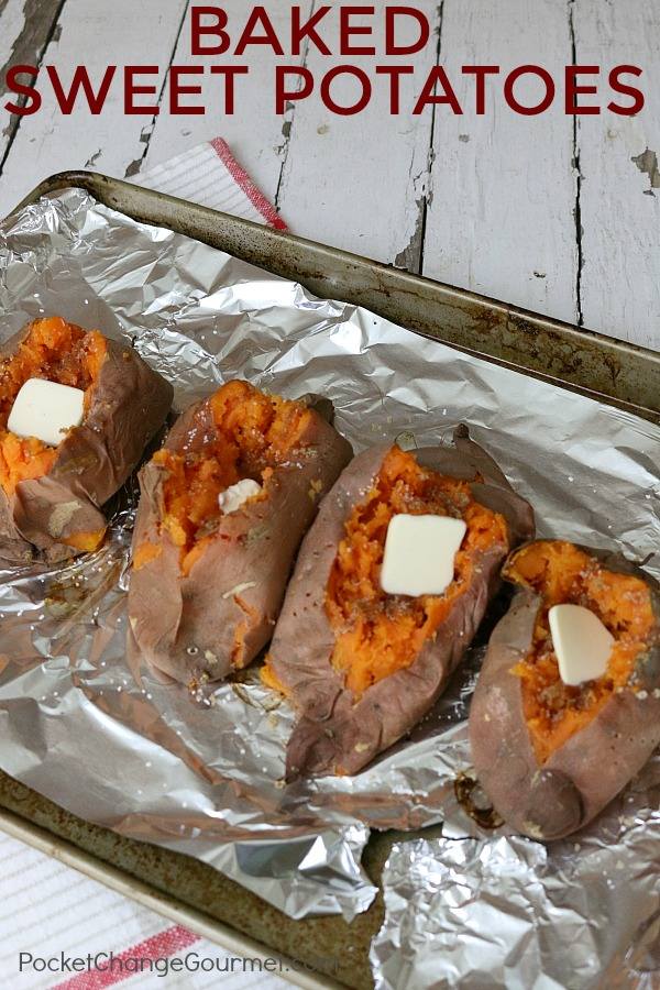 BAKED SWEET POTATO -- Easy as 1-2-3 and SO delicious! Serve as a side dish, or use them in other recipes!