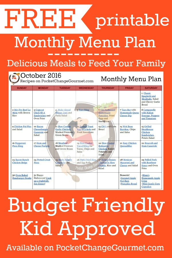 Delicious meals to feed your family in the October Monthly Meal Plan! Budget friendly menu plan - Kid approved!